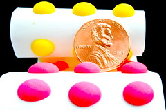 Candy 'Buttons', or 'Pills' (Flickr Clicks by Al) Tags: color macro paper coin candy than penny roll monday smaller