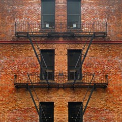 more than one way out (msdonnalee) Tags: brick escape brickwall fireescape brickbuilding mirrorfx