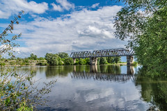 HDR (Alexey Mikheykin) Tags: bridge trees summer sky tree water clouds river railway hdr reflecrion