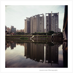 Reflection River (jasoncremephotography) Tags: reflection film water rollei analog rolleiflex river square riverside taiwan slide velvia fujifilm taipei expired fujichrome e6 fw expiredfilm filmphotography rvp100 filmphoto filmisnotdead rolleiflexfw