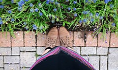 (LivFree) Tags: pink flowers blue summer texture feet colors fashion comfortable garden fun happy spring pretty pattern dress natural boots outing