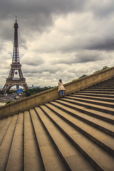 Leave me alone (Alessio Trerotoli) Tags: life street city sky people urban panorama paris france tower art girl clouds stairs photography photo mood alone cityscape loneliness arte cloudy fineart eiffel toureiffel trocadero melancholia