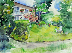 343 Garden in springtime (Wuwus Bilder) Tags: haus watercolour garten aquarell malerei ownpainting