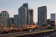 South Core Dusk (Jack Landau) Tags: city urban toronto ontario canada architecture train buildings evening highway long exposure downtown dusk south tracks rail infrastructure gardiner expressway core southcore