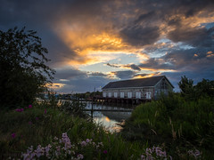 House of the setting sun (iPhilFlash) Tags: fraserriver sunset water nethouse outdoor clouds vancouver slough britishcolumbia garrypointpark scotchpond sky canada steveston cloud outdoors richmond ca