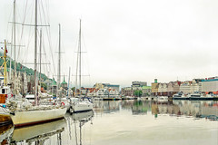 Bergen Norway Harbor (Bob C Images) Tags: bergen norway harbor water waterfront boats reflections morning calm peaceful serene quiet light town
