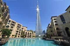 UAE Dubai-Burj Khalifa-11 (toshi eyes) Tags: burjkhalifa dubai uae landscape architectural bluesky tower pond greenpond blue outdoor souk