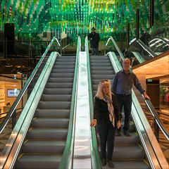 melbourne-4004-ps-w (pw-pix) Tags: new light people green retail shopping design interesting interior tubes decoration australia melbourne victoria shops hanging cbd unusual escalators developed newly collinsstreet refitted collinslane themanatthetopoftheescalatorstartedworkattheaustraliahotelinthe1950s formeraustraliahotel formeraustraliaoncollins stillquiteempty