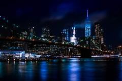 Manhattan by Night (Chris Cardoso Photo) Tags: skyline city cityscape nyc brooklyn bridge urban exploration new york night evening dusk twilight reflection architecture