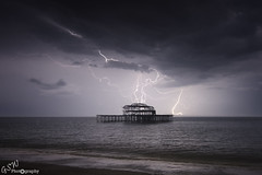 Lightning overWest Pier (Gavmonster) Tags: uk longexposure sky storm rain weather clouds landscape sussex pier cg nikon brighton unitedkingdom ruin shell wideangle westpier thunderstorm lightning derelict thunder stormchasing stormchaser cloudtoground ukstorm 1024mm d7000 nikond7000 gswphotography