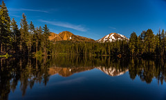 Reflection Lake in Golden Hour (Maxinux40k) Tags: california blue trees summer sky usa lake reflection nature water june clouds landscape outdoors nationalpark nikon outdoor reflectionlake nikkor goldenhour lassenvolcanicnationalpark 2016 d810 mitchellcipriano afs24mmf18g