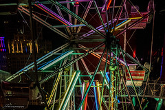 Fun (Jae at Wits End) Tags: blue sky color wheel night dark circle colorful darkness arc machine objects fair ring round ferriswheel curve multicolored rim circular