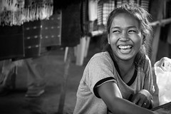 The Happy Lady, Cambodia (trickyd3) Tags: blackandwhite smiling laughing happy cambodia southeastasia
