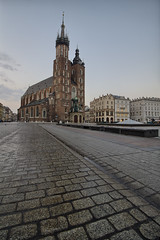 St. Mary's Church on Krakow Market Square (sanzios) Tags: architecture market tower cathedral square historical travel view history old morning building basilica church krakow famous city monument gothic europe pavement medievalstreet oldtown theholyapostlespeterandpaulchurch touristtourists marketsquare stmaryschurch cracov