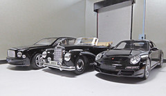 The Dream Garage. (ManOfYorkshire) Tags: bentley mulsanne porche carerra s mercedes 1955 cabriolet 300s scale diecast model maisto rastar officially licensed product corporation smithsonian institute sbv67325 black occasion garage indoors diorama scratchbuilt homemade dream fantasy longing drool choice detailed perfection style class taste