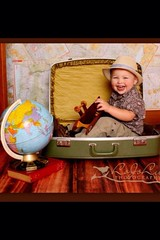 Fedora (LoJoLu Photography) Tags: boy baby globe toddler map fedora suitcase traveler uploaded:by=flickrmobile flickriosapp:filter=nofilter