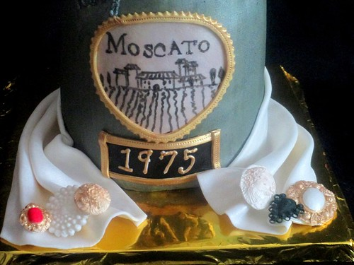 Wine Bottle Moscato Fondant Carved Cake close up