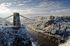 Clifton Snow (Martin Allen Photography) Tags: bridge sunset sunrise bristol suspension clifton