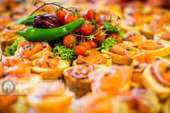 Salmon Appetizers and Vegetables (Cristian Sabau | Photography) Tags: food horizontal closeup cheese breakfast tomato bread photography focus salmon gourmet indoors event tapas romania seafood appetizer chilli creamcheese transylvania foodanddrink herb smokedsalmon freshness cherrytomatoes catering selectivefocus canape healthyeating dairyproduct hotchilli multipleobjects readytoeat