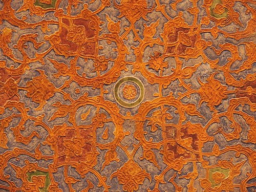 Detail of Safavid Isfahan palace ceiling