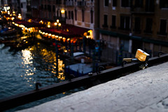 ordinary life in venice (sandro visintin) Tags: city bridge italy love night italia ponte story di tradition venezia amore notte rialto sera citt veneto storia segno lucchetto