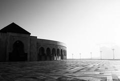 Hassan II Mosque (nep000) Tags: ocean africa blackandwhite bw architecture sunrise coast waves northafrica islam mosque atlantic morocco maroc casablanca