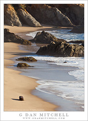 Beach and Rocks (G Dan Mitchell) Tags: ocean california county travel light usa seascape beach nature water america print landscape one coast sand highway rocks surf afternoon pacific north stock scenic wave license late sanmateo pescadero rugged