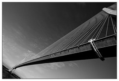Pont de Normandie B&W (Zenith_01) Tags: bridge bw france seine river blackwhite construction noiretblanc nb estuary pont normandie normandy calvados fleuve pontdenormandie estuaire ouvrage
