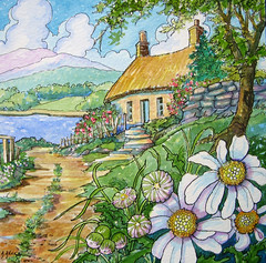 Last Cottage on the Lane (cottagelover1953) Tags: flowers original ireland roof roses lake daisies rural vintage watercolor landscape side country cottage inspired storybook thatched