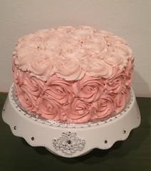 Pink Ombre Rose Cake by Elicia, Santa Cruz, CA, www. birthdaycakes4free.com