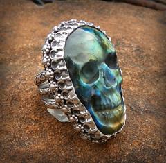 The Morrigan Fall Harvest   labradorite skull set in Handcrafted sterling silver trinity band setting (leespicedragon) Tags: art fall death skull ooak gothic harvest jewelry ring cameo handcrafted labradorite fairyqueen marvinleebillings