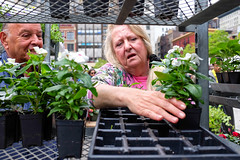 Time for gardening (BrianEden) Tags: flowers woman plants newyork man shopping fuji unitedstates farmersmarket manhattan candid streetphotography worried fujifilm greenmarket unionsquare x100s