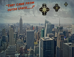 "DUC #699 - ""THEY CAME FROM OUTER SPACE"" (mark_rutley) Tags: city urban newyork film composite movie poster ufo empirestate spaceship filmposter manhatten downunderchallenge"