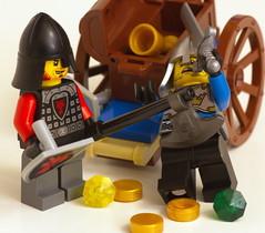 Stealing the Jewels (mr3wan) Tags: life castle still lego knight setup cart legopeople highwayman forestambush castle70400
