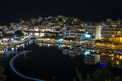 Circle Of Life (Vitalis Gerin) Tags: city longexposure nightphotography island greek evening town october cityscape view greece crete sight agiosnikolaos aegeansea 2013 aghiosnikolaos lakevoulismeni   lmnivoulismni availableambientlight