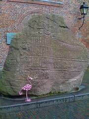 A Flamingo in Utrecht (indigo_jones) Tags: sculpture holland bird art netherlands metal blog utrecht kunst flamingo nederland american palmtree vogel domplein expat floridian pandhof spoetnikkijker florashof