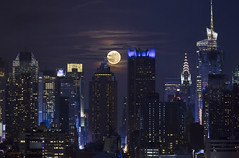 Gotham City - Colored Version (Photosequence) Tags: street new city nyc newyorkcity bridge usa moon newyork reflection skyline brooklyn canon river reflex downtown cityscape unitedstates manhattan nj midtown uptown timessquare brooklynbridge eastriver jersey newyorkskyline empirestate astronomy hudson gotham northeast bigapple eastcoast 42nd northjersey theatredistrict photosequence supermoon faizanphotography