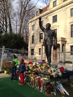 Paying respects at the Mandela statue in Washington, DC.  Yes, indeed.  And there is hope for us, too!, From ImagesAttr