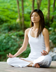 Yoga Outdoors (recoveryhealth) Tags: morning trees vacation people woman white beautiful beauty smiling yoga female pose asian outside outdoors healthy hands sitting slim adult exercise natural lifestyle peaceful happiness calm resort together attractive tropical serene relaxation fitness relaxed 20s