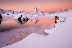 """Soft Winter""   Swiss Alps (Dan Ballard Photography) Tags: winter lake mountains alps switzerland matterhorn pinksunrise fromyoutous"