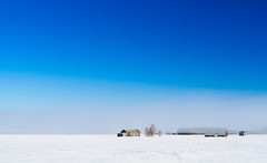 It's Springtime In The Fields (k009034) Tags: old travel blue trees winter sky white house mist snow beautiful barn forest canon finland landscape photography eos 350d countryside wooden spring woods scenery day horizon fields rebelxt beautifulearth matkaniva pwwinter