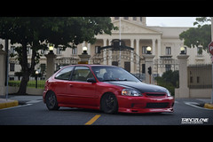 Civic ek (Abraham Esmurdoc) Tags: street red sky car japan photography japanese dawn los dominican dr spoon headlights civic ek rims lowered rd jdm stance mugen stanced