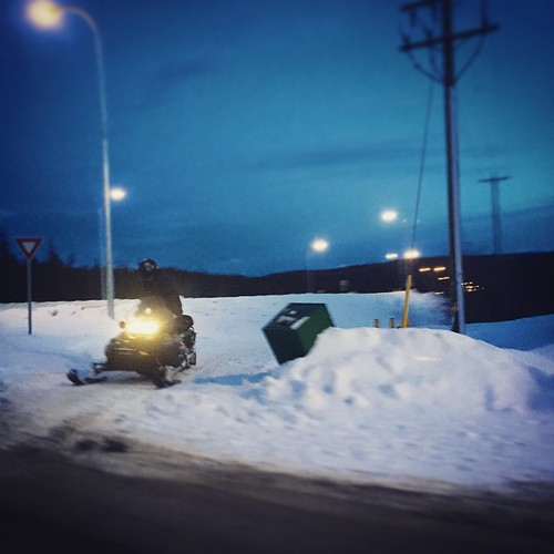Skidoo pauses for traffic along Hamilton Blvd. Temperatures still hovering above zero in ##yxy #Yukon