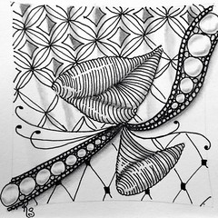 "#zentangle 2015-028, ""One Zentangle A Day"" days 12 & 13, deconstructing patterns to flow from one to another - Bales to Chilon to Florz. I used string 140 from TanglePatterns. (kurki15) Tags: square doodle squareformat zia zentangle ozad zendoodle iphoneography instagramapp uploaded:by=instagram zentangleinspiredart onezentangleaday 2015zentangleaday 2015zenjan"