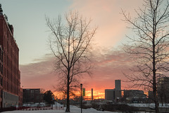 Sky of Fire in January's Cold (pierredamours.net) Tags: winter sunset snow canada ice quebec montreal griffintown parcscanada mtlmoments