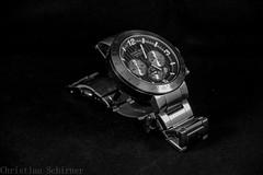 Watch in B/W (Grille1991) Tags: blackandwhite bw closeup dark pentax watch shining ricoh chronograph lightroom twop jacqueslemans pentaxart pentaxk3
