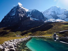 The North Face of the Eiger (Feldore) Tags: lake mountains alps reflection green water face landscape switzerland swiss north dramatic rocky olympus eiger mchugh sheer em1 1240mm feldore