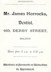 1888 - Horrock's Dentist (Landstrider1691) Tags: 19thcentury victorian bolton dentist 1880s 1888 farnworth oldadverts derbystreet horrocks boltonlancashire 19thcenturyadvert