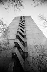 Pripyat, Fire Escape (St Prie) Tags: 35mmfilm ilfordhp5plus400 vivitarultrawideandslim vuws