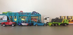 Loaded Trucks (austinmini1275) Tags: cars scale car truck toy toys semi lorry hotwheels rig 164 trucks artic mattel articulated matchbox forklift lorries tractortrailer diecast autocarrier 164th forktruck towmotor